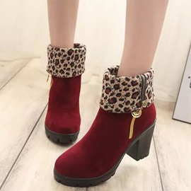 Discount Leopard Side Zipper Block Heel Purfle Women's Boots
