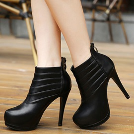 PU Back Zip Platform Stiletto Heel Women's Ankle Boots