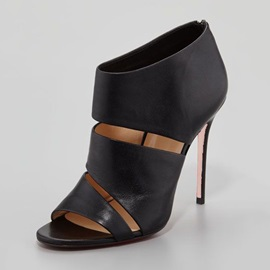 Black PU Laser Cut back Zip Stiletto Fashion Booties