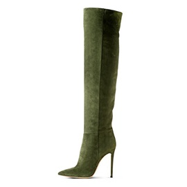 Suede Army Green Side Zipper Knee High Stiletto Boots