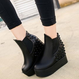 PU Slip-On Platform Rivet Hidden Heel Women's Boots