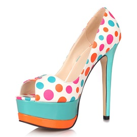 Exquisite Multicolor Peep Toe Polka Dots Platform Pumps