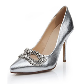 Silver Eye-Shaped Rhinestone Point Toe Low Heel Pumps