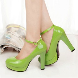 Solid Color Ankle Strap Platform Pumps