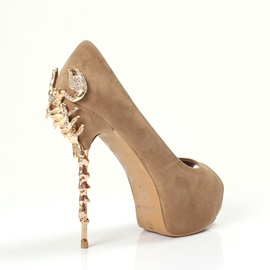 Chic Suede Metal Heels Peep Toe Sandals