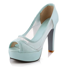 Sweet Patch-work & Mesh Peep Toe Pumps