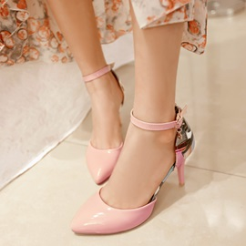 Printed Pointed-Toe Ankle Strap Classic Pumps
