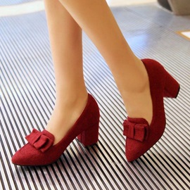 Bowknots Suede Chunky Heel Pumps