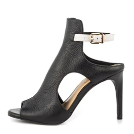 Black Hollow Peep-Toe Pumps