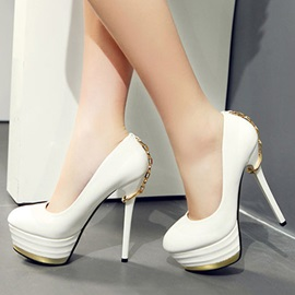Metal Chains PU Stiletto Heel Platform Pumps