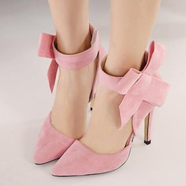 Suede Bowknots Stiletto Heel Pumps
