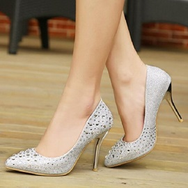 Rhinestone Round Toe Stiletto Heel Pumps