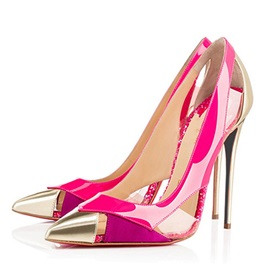 PVC  Cut-Out Stiletto Heel Pumps