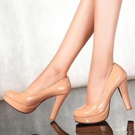 Solid Color PU Slip-On Platform Pumps