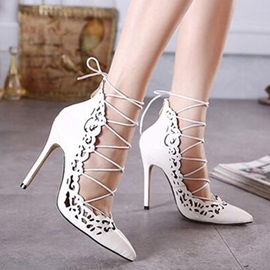 European Pointed Toe Lace-Up Pumps