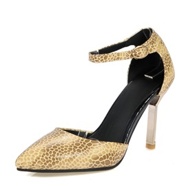 Embossed PU Ankle Strap Pumps