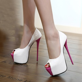 Contrast Color Peep-Toe Stiletto Heel Pumps