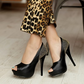 Studded PU Pee-Toe Platform Pumps