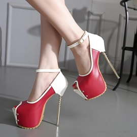 Contrast Color PU Peep-Toe Stiletto Heel Pumps