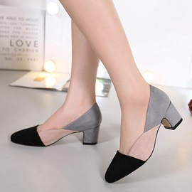 Contrast Color Chunky Heel Pumps