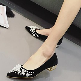 Suede Slip-On Rhinestone Beads Pointed Toe Women's Flats