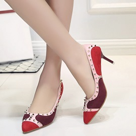 PU Patchwork Rivet Slip-On Stiletto Heel Women's Pumps