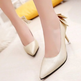 PU Slip-On Bow Multi Color Women's Pumps