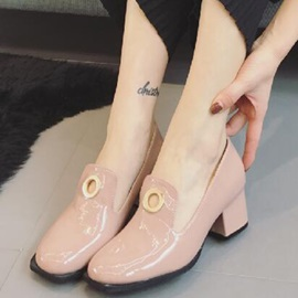 Patent Leather Slip-On Hollow Block Heel Women's Pums