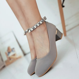 PU Line-Style Buckle Rhinestone Beads Block Heel Women's Pumps