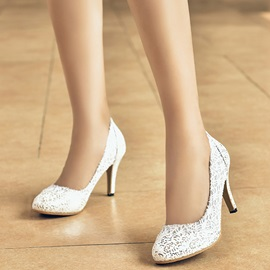 PU Lace Slip-On Stiletto Heel Glitter Women's Pumps