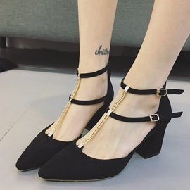 PU T-Shaped Buckle Block Heel Women's Fashion Shoes