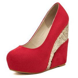 Round Toe Glitter Wedges Shoes