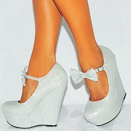 Round Toe Bow Women's Wedges
