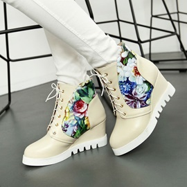 Floral Printed Lace-Up Wedge Boots