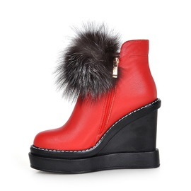 Pompom PU Zippered Wedge Boots