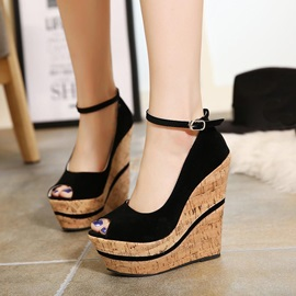 Peep-Toe Ankle Strap Wedge Sandals
