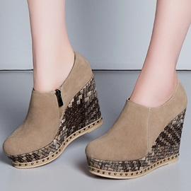 Faux Leather Zippered Wedges