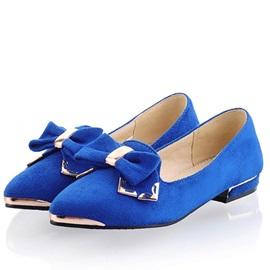 New Popular Metallic Point Toe Bowknot Flats