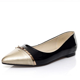 Rivets Decorated Color Block Pointed Toe Flats