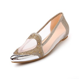 Rhinestone Studded Mesh Patchwork Pointed Toe Flats