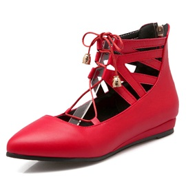 Cool Strappy Pointed Toe Solid Color Flats