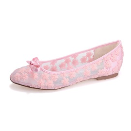 Sweet Style Color Lace Round Toe Flats