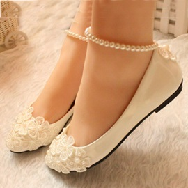 Beading Applique Slip On Flats