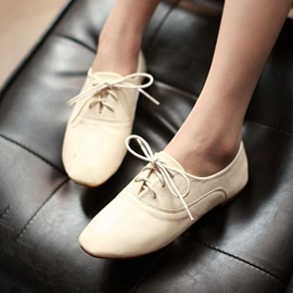 Solid Color Lace-Up PU Flats