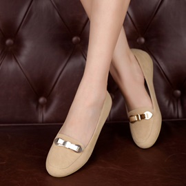 Metal Buckle Slip-On Flats