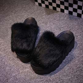 Faux Fur Slip-On Flats