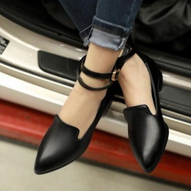 PU Pointed Toe Covering Heel Flats