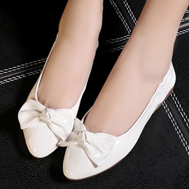 Solid Color Bowknots Round Toe Flats