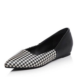 Houndstooth Pattern Slip-On Flats