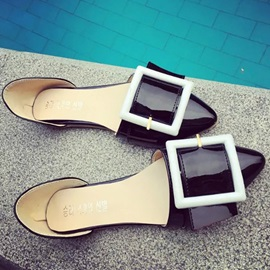 PU Buckles Pointed Toe Flats